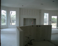From pantry, over kitchen island, through great room